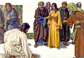 Jesus writes on the ground while scribes and Pharisees and the woman they have caught look on.