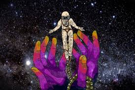 Two hands receive a space explorer against the background of a sky filled with stars.