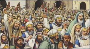 The angry, shouting crowd at Jesus' trial, as picture in John's Gospel.