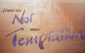 A person kneeling in church: prays: Lead us not into temptation.