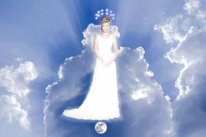 A woman in dazzling white, stands on the moon and wears a crown of 12 stars.