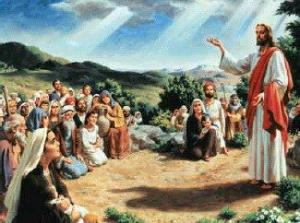 Jesus is picture giving his famous Beatitudes sermon on a plane, as in Luke's Gospel.