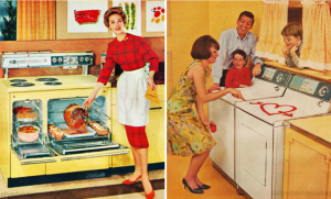 1950's kitchen and laundry with new labor-saving devices.