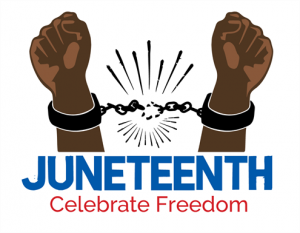 Two raised fists no longer bound by a chain that is broken. The legend says: Juneteenth. Celebrate Freedom.