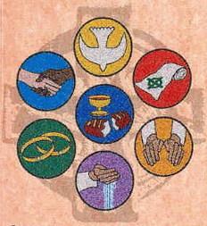 Seven signs representing the seven sacraments.