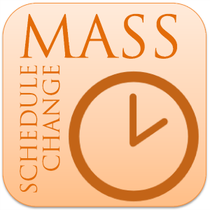 A clock face and the legend: Mass Schedule Change