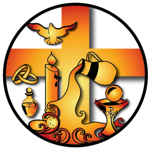 Symbols of the seven sacraments with a cross in the background.