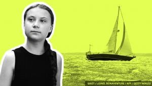 Picture of Greta Thunberg with foto of the sailboat that carried her across the Atlantic