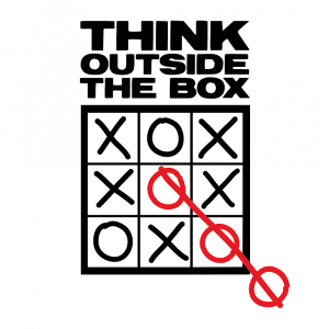 """The saying """"Think outside the box"""" over a Tic Tac Toe game that the O's win by drawing a fifth O outside the box."""