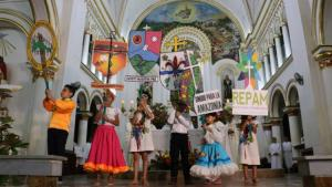 A group of Amazonian people add indigenous flavor to a church gathering.