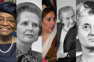 A montage of women leaders of Liberia, Great Britain, Pakistan, Israel, and India.