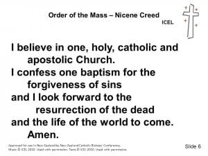 """The last paragraph of the Creed, starting with """"I believe in one, holy, catholic and apostolic Church."""""""
