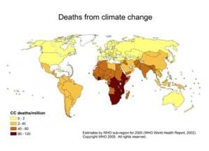A world map showing deaths from climate change.