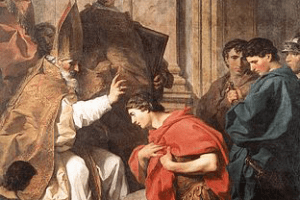 Bishop Ambrose welcomes Emperor Theodosius back into the Church with a blessing.
