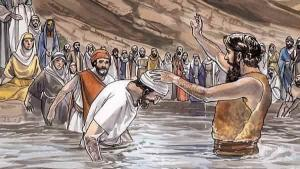 A crowd of people coming to John to be baptized in the Jordan River