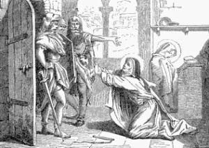 Two Visigoth soldiers confront a pleading Marcella of Rome.