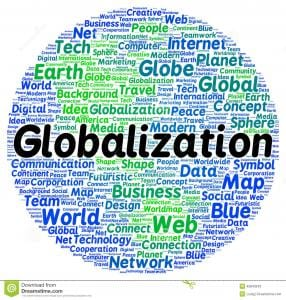 "A globe of words like map, net, idea, world, technology, planet, network, media, marketing, etc. ""Globalization"" in large letters over all."