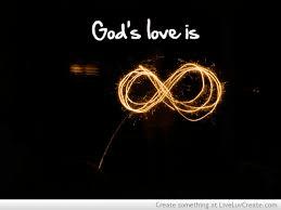 """God's love is (infinite)"" with infinity symbol."