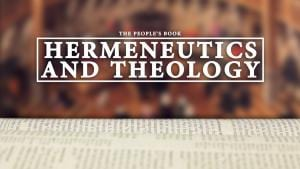 """An out-of-focus picture backgrounds the phrase """"Hermeneutics and Theology."""""""