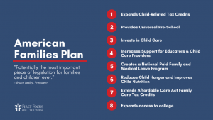 A list of 8 ways the American Families Plan intends to help families.
