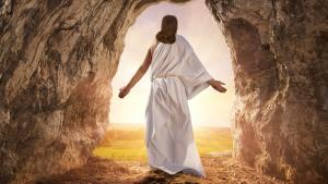 An artist's depiction of the resurrection. Jesus in white robe exiting the tomb.