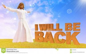 """Comic illustration of Jesus Jesus predicting his second coming: """"I will be back."""""""