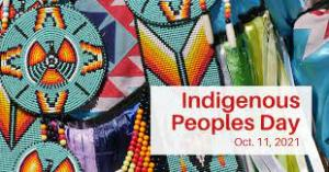 """""""Indigenous Peoples' Day, Oct. 11, 2021, on background of Native American symbols."""