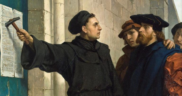 Luther-posting-his-95-theses-in-1517