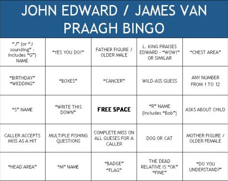 John Edward/James van Praagh Bingo