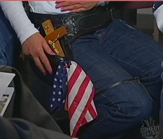 Tea Party Protester - Gun Belt With Flag and Jesus