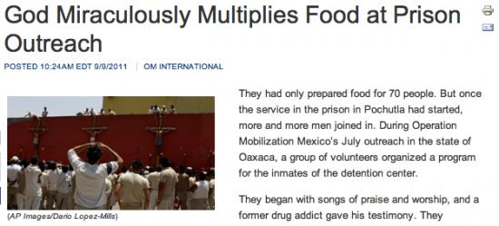 Christian Magazine: The Prison Food Multiplied!