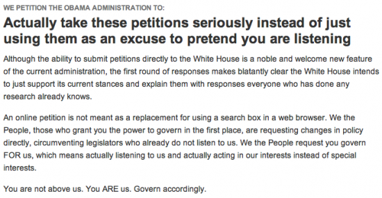 A Petition for the White House to Take the Petitions Seriously