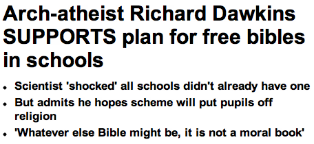 Richard Dawkins Voices Support for Bibles in School