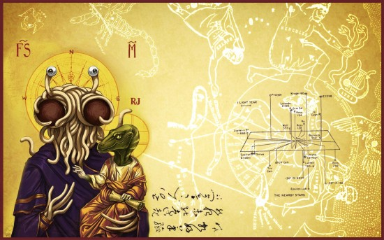 Raptor Jesus and Flying Spaghetti Monster Holy Portrait