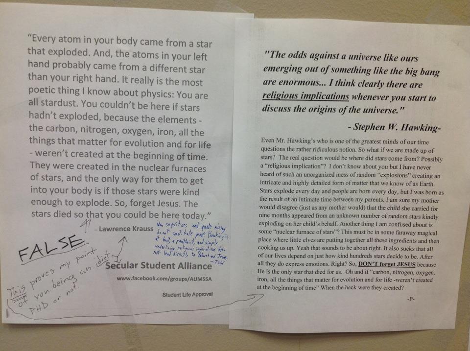 Christian Uses Stephen Hawking to Rebut Alabama Atheists' Flyers