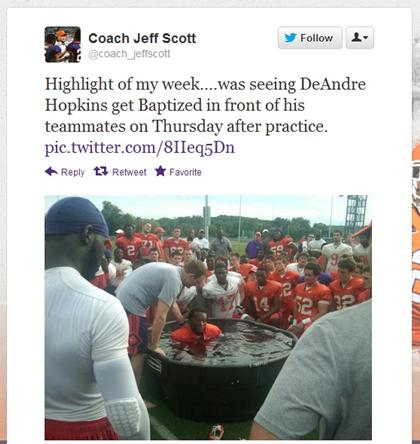Clemson Football Player Baptized… Why Is It Such a Big Deal?
