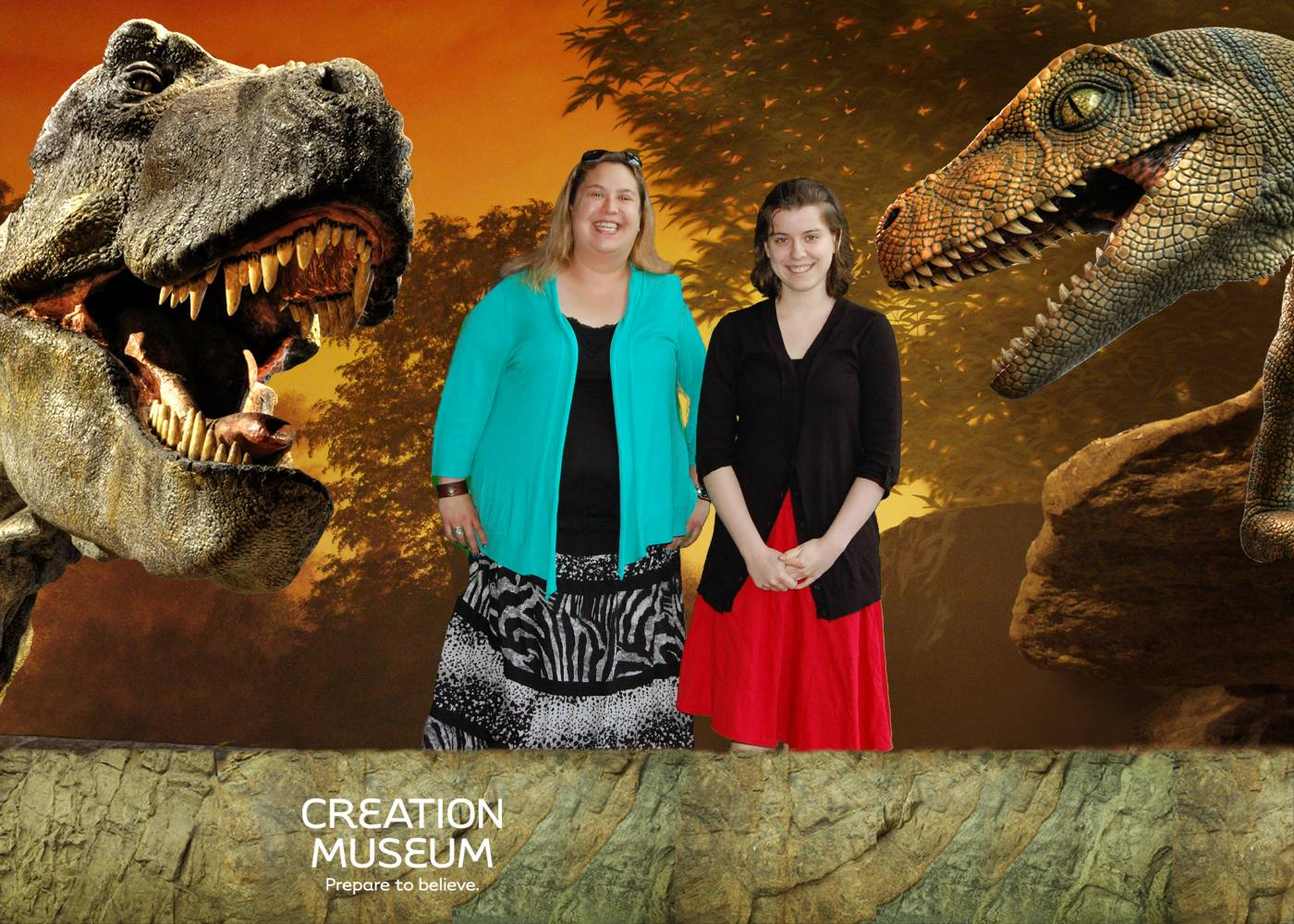 Louise (left) and Kate in front of a green screen... I hope