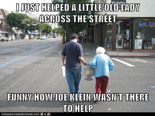 Klein meme lady across street