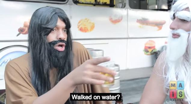 Yahweh (left) tries to explain his Son's accomplishments to Zeus