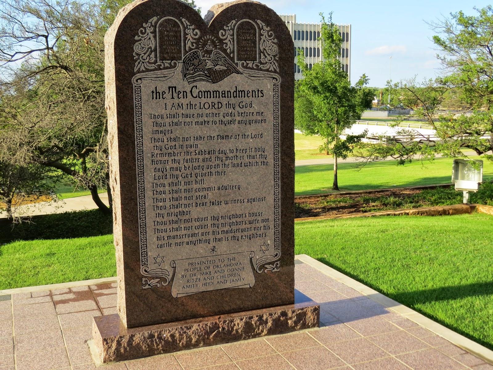 Ten Commandments monument in Oklahoma (via James Nimmo)