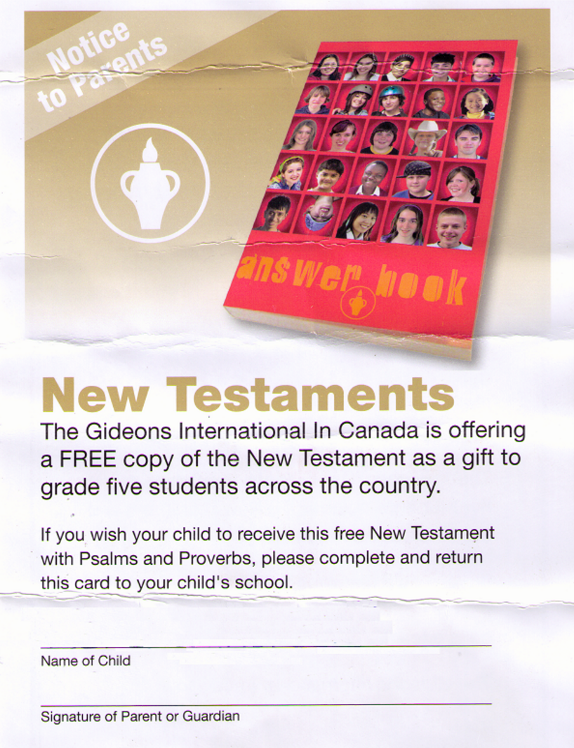 Bible Consent Cards, as given out in the Chilliwack (BC) School District several years ago.