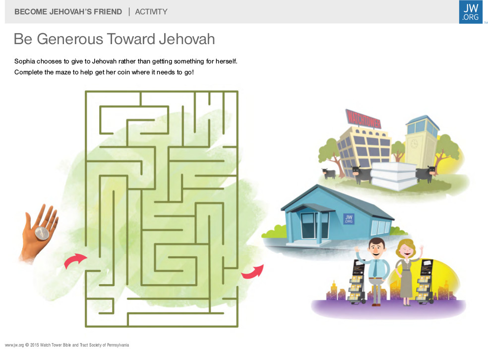Jehovah's Witness Worksheet for Kids Instructs Them to Give