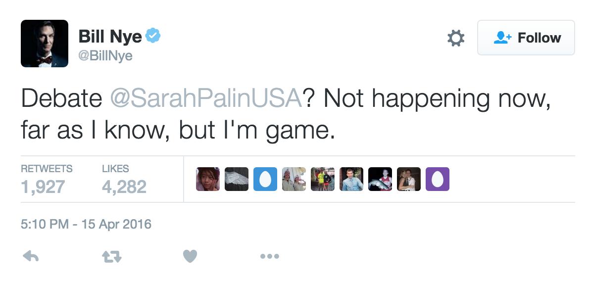 Bill Nye Debate Palin