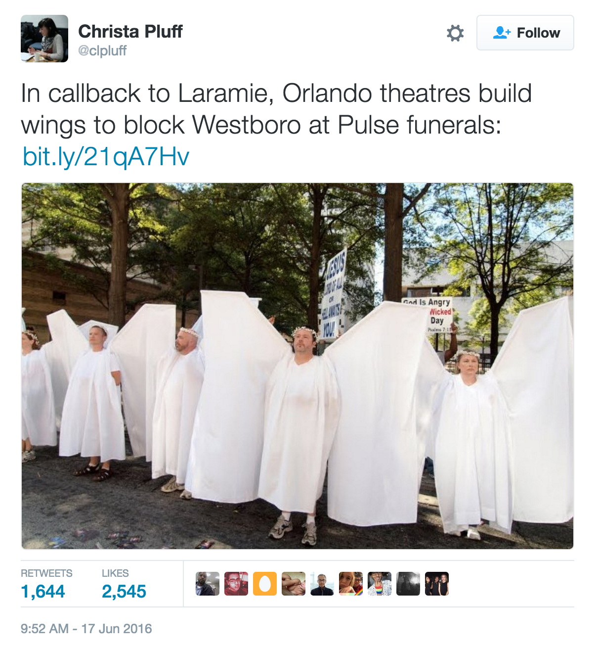 "Angels"" Block Westboro Baptist Church From Disrupting"