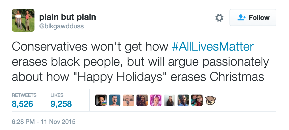 """If You Get Mad When People Say """"Happy Holidays"""" But Not """"All Lives Matter,"""" You're a Hypocrite"""
