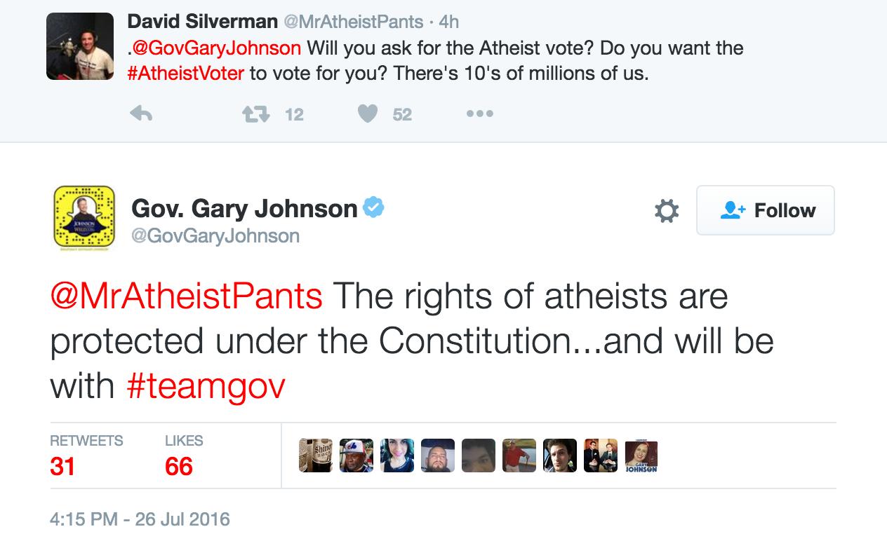 GaryJohnsonTweetAtheists