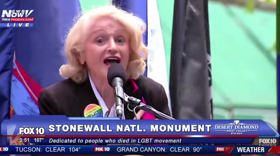 "Edie Windsor Omits ""Under God"" From Pledge of Allegiance at Stonewall"
