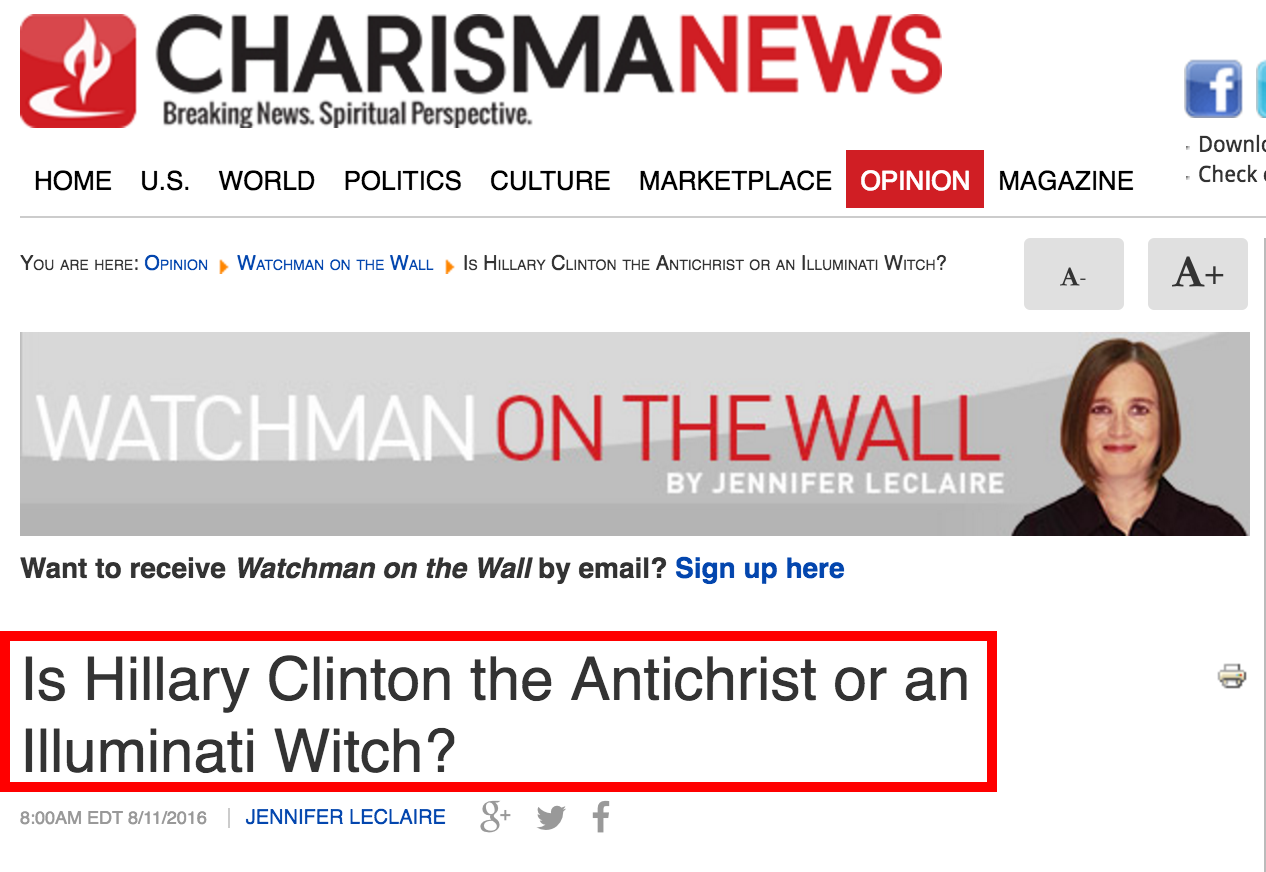 """Christian Website Seriously Asks: """"Is Hillary Clinton the Antichrist"""