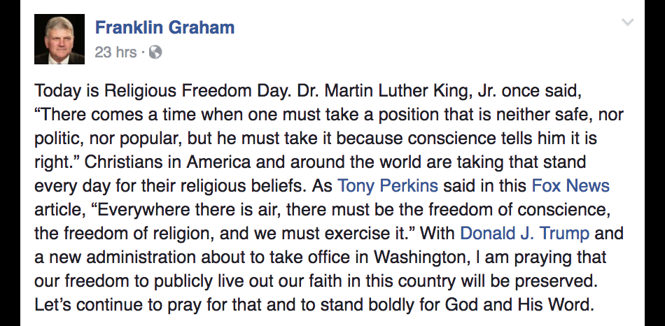Evangelist Franklin Graham Quotes MLK in Post About the Struggles American Christians Face