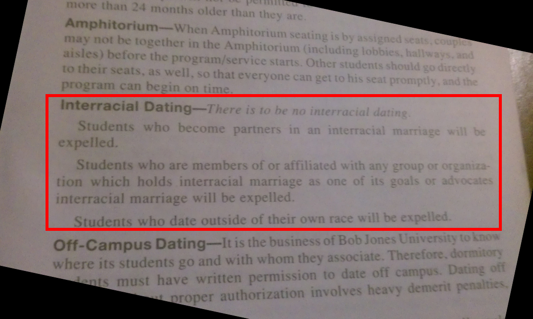 bob jones university dating policy